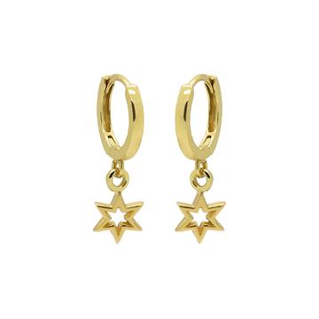 Karma Karma Hinged Hoops Symbols 6 Point Open Star Goldplated