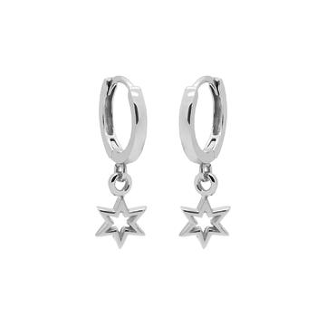 Karma Karma Hinged Hoops Symbols 6 Point Open Star Silver