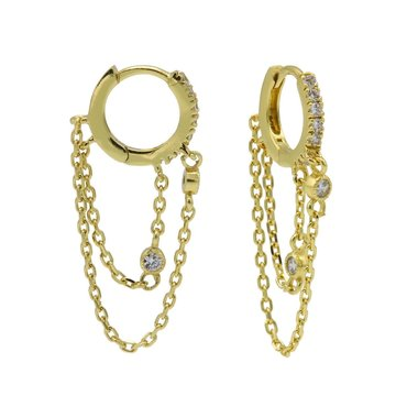 Karma Karma Plain Zirconia Hinged Hoops Double Chain Goldplated