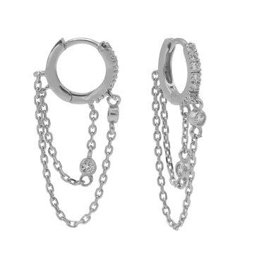 Karma Karma Plain Zirconia Hinged Hoops Double Chain Silver