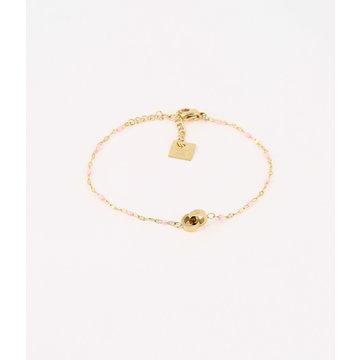 Zag Bijoux Zag Bijoux Goudkleurige Armband Roze Beads