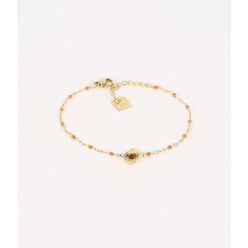 Zag Bijoux Zag Bijoux Goudkleurige Armband Oranje Beads