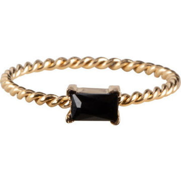 Charmin*s Charmins Ring R770 Goudkleurig Met Zwart Steentje