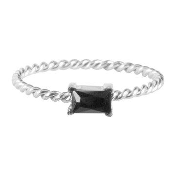 Charmin*s Charmins Ring R769 Zilverkleurig Met Zwart Steentje
