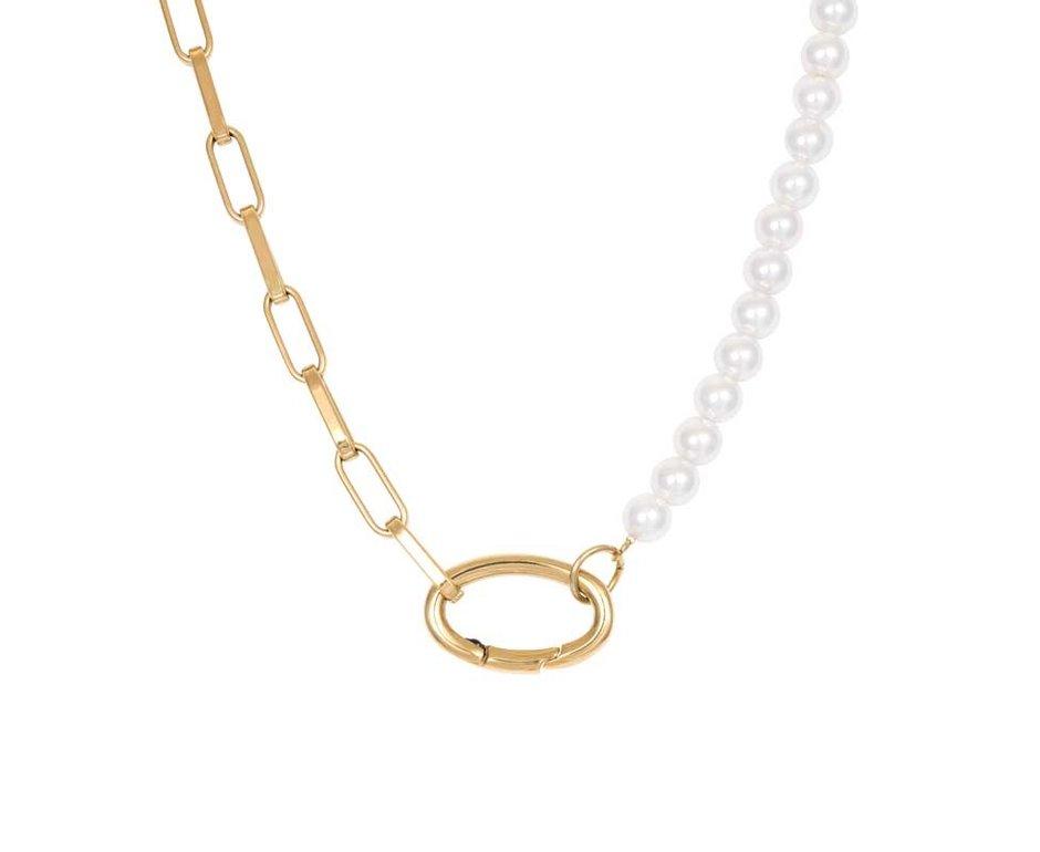 iXXXi Jewelry iXXXi Jewelry Ketting Square Chain Pearl Goudkleurig