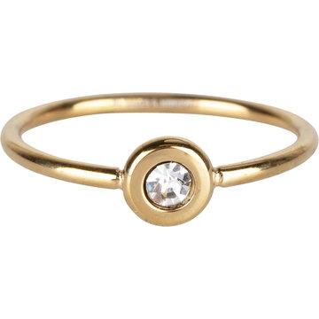 Charmin*s Charmin's Ring R953 Donut Gold White Crystal