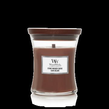 WoodWick WoodWick Medium Candle Stone Washed Suede