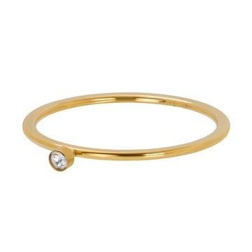 iXXXi Jewelry iXXXi Jewelry Losse Ring Zirconia 1 Stone Crystal 1mm Goudkleurig