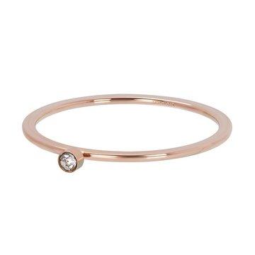 iXXXi Jewelry iXXXi Jewelry Losse Ring Zirconia 1 Stone Crystal 1mm Rosé