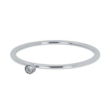 iXXXi Jewelry iXXXi Jewelry Losse Ring Zirconia 1 Stone Crystal 1mm Zilverkleurig