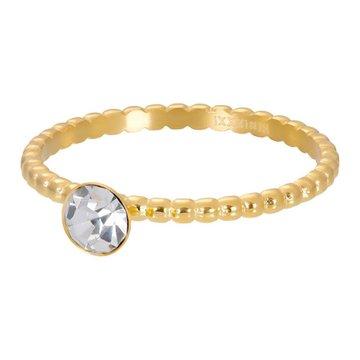 iXXXi Jewelry iXXXi Jewelry Losse Ring Ball With Crystal Stone Goudkleurig