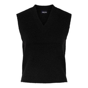 Pieces PCChapa V-Neck Knit Vest Noos Black