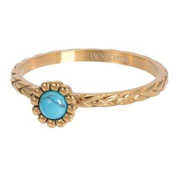 iXXXi Jewelry iXXXi Jewelry Losse Ring Inspired Turquoise Goudkleurig