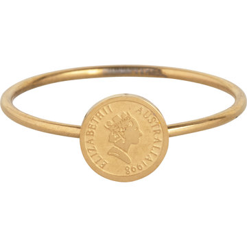 Charmin*s Charmin's R963 Wis Coin Goldplated Steel Ring