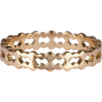 Charmin*s Charmin's  R909 Double Trouble Goldplated Steel Ring