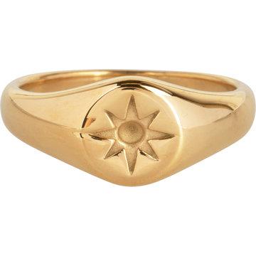 Charmin*s Charmin's R1002 Mini Star Seal Goldplated Steel Ring