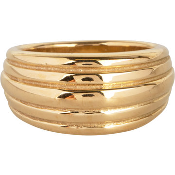 Charmin*s Charmin's R992 Chunky Stripes Goldplated Steel Ring
