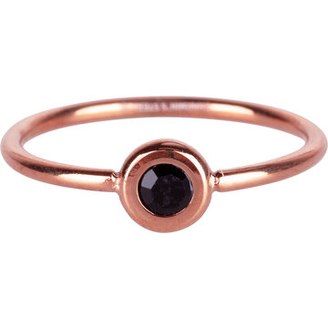 Charmin*s Charmin's R958 Donut Rosegold-plated and black crystal