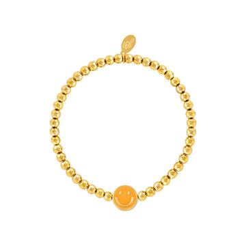 Goodies Goodies Armband Oranje Smiley Goudkleurig