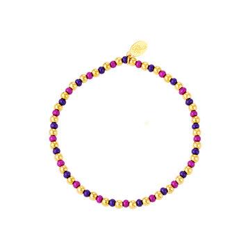Goodies Goodies Armband Paarse Beads Goudkleurig