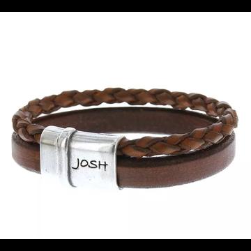 Josh Accessoires Josh Men Armband 09110-BRA S/COGNAC Maat L 21.5 cm