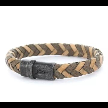 Josh Men Armband 09253 - BRA VB/GREY Maat L 21.5 cm