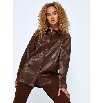 Noisy May Noisy May NM Miley L/L Crocodile Oversized Shirt Chicory Coffee