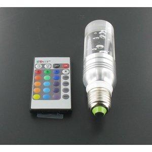 3 Watt RGB LED cristal E27 avec télécommande IR