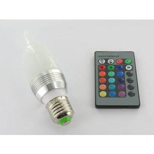 RGB 3 Watt LED 'Flame' Lamp E27 met IR Afstandsbediening