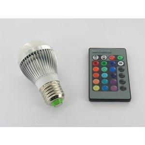 RGB 3 Watt LED 'bulb' Lamp E27 met IR Afstandsbediening