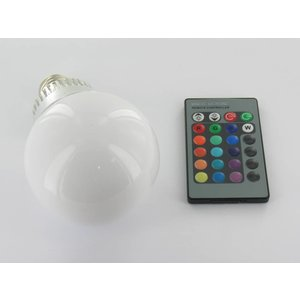 RGB 5 Watt LED bulb 'E27 with IR Remote Control