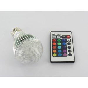 RGB 9 Watt LED 'bulb' E27 met IR Afstandsbediening