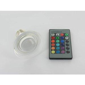 RGB 3 Watt LED Glass' Spot E27 with IR Remote Control