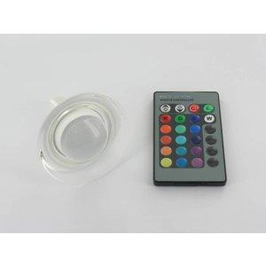 RGB 3 Watt LED 'glas' Spot GU10 met IR Afstandsbediening