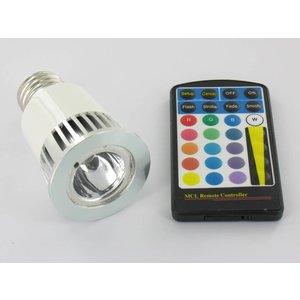 RGB 5 Watt LED Spot E27 with IR Remote Control