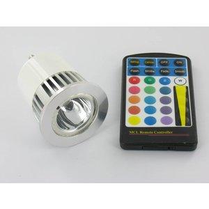 RGB 5 Watt LED Spot GU10 with IR Remote Control