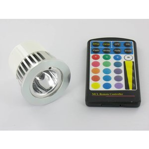 RGB 5 Watt LED Spot MR16 with IR Remote Control