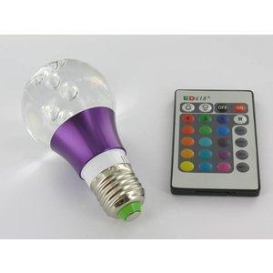 RGB 3 Watt LED 'bal' Lamp E27 met IR Afstandsbediening