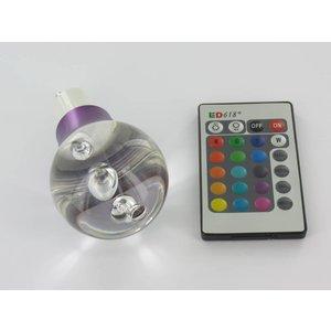 """RGB 3 Watt LED """"Ball""""-Lampe GU10 mit IR-Fernbedienung"""