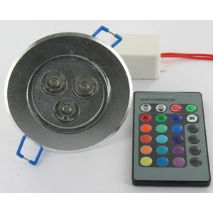 3 Watt RGB LED Downlight mit IR-Fernbedienung