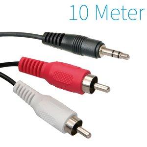 3,5 mm Klinke Stecker auf Cinch-Stecker-Kabel 10 Meter 2x