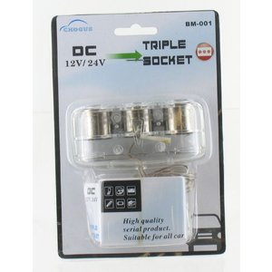 12V Cigarette lighter splitter from 1 to 3 - 60Watt