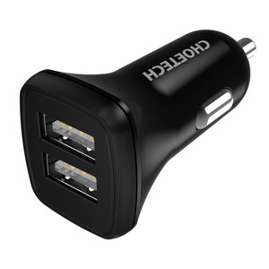 Choetech Car charger with 2 USB ports - 24 Watt - Max. 4.8A - Black
