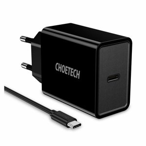 Choetech USB Type-C Power Adapter with Power Delivery - 18W - 3A - Black