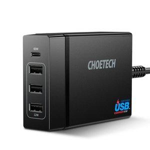 Choetech Adaptateur secteur USB Type-C avec alimentation - 3 ports de charge USB-A - Certifié USB-IF - 72W - 3A - Noir