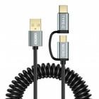 Choetech Choetech - 2-in-1 USB-C en micro USB naar USB-A kabel - Goud vergulde connectoren - Kabel: Krulsnoer 1.2M - Zwart/Sky Grey