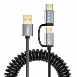Choetech 2-in-1 USB-C en micro USB naar USB-A kabel -  2.4A - Krulsnoer 1.2M