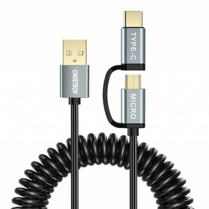 Choetech Choetech - 2-in-1 USB-C en micro USB naar USB-A kabel - Goud vergulde connectoren - 2.4A - Kabel: Krulsnoer 1.2M - Zwart/Sky Grey