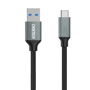 Choetech USB 3.0 A to USB-C charging and data cable - 2.4A - Braided Nylon -1M - Black