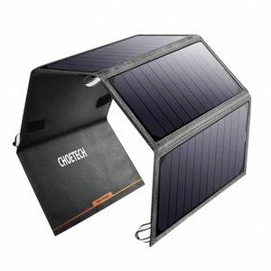 Choetech Uitvouwbare Solar Charger met 4 panelen –  2 USB laadpoorten - 24W – 4A max. – Waterbestendig